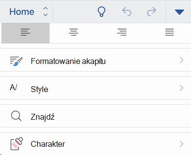 Uwzględnianie menu systemu iOS