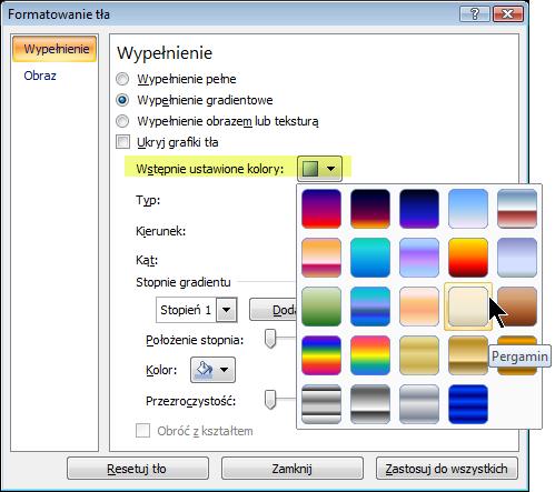 Aby użyć wstępnie ustawionego gradientu, wybierz pozycję Wstępnie ustawione kolory, a następnie wybierz odpowiednią opcję.