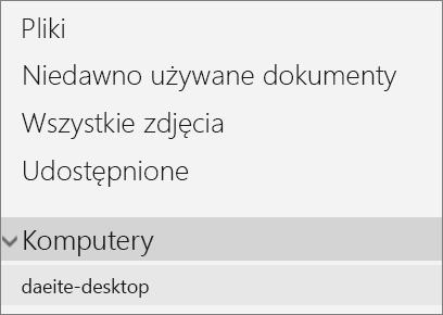 Nawigacja portalu usługi OneDrive po lewej stronie przedstawiająca rozwinięte menu komputerów