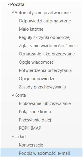 Podpis e-mail w aplikacji Outlook w sieci Web