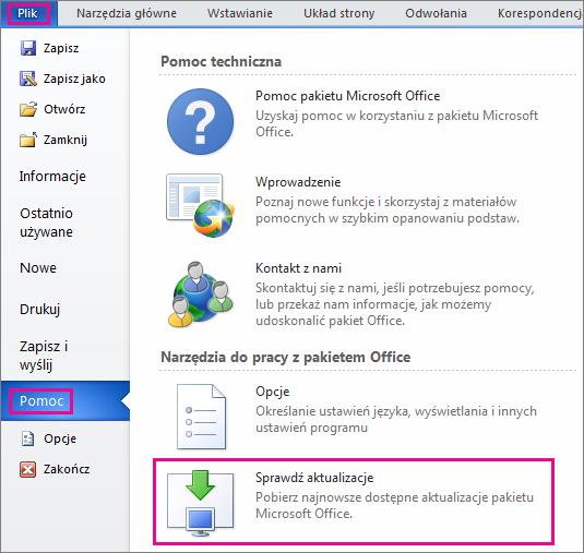 Ręczne wyszukiwanie aktualizacji pakietu Office w programie Word 2010
