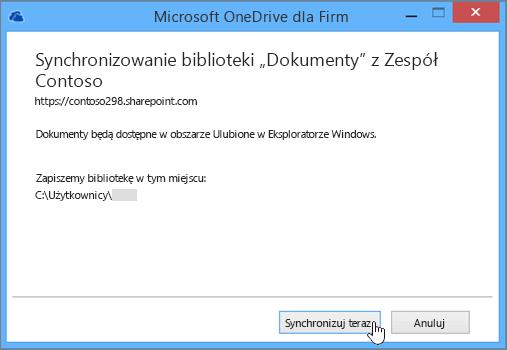 Wybierz przycisk Synchronizuj teraz, aby rozpocząć synchronizowanie plików z witryny zespołu na Twoim komputerze.