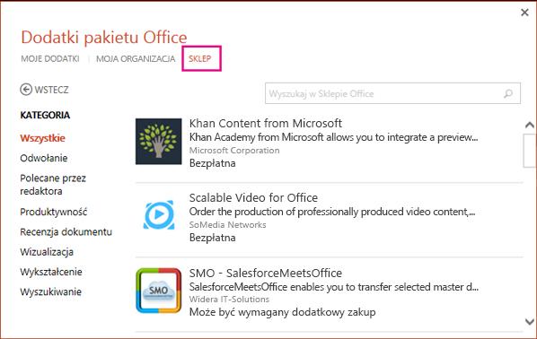 Okno dialogowe Dodatki pakietu Office z wyróżnionym przyciskiem Sklep