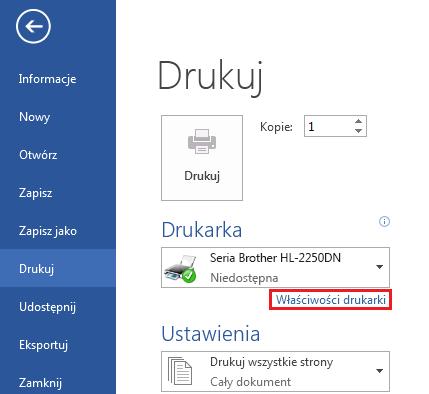 Na ekranie wydruku kliknij przycisk Właściwości drukarki.