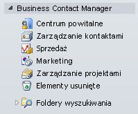 Expanded Business Contact Manager folder in the Navigation Pane