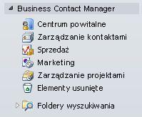 Rozwinięty folder dodatku Business Contact Manager w okienku nawigacji