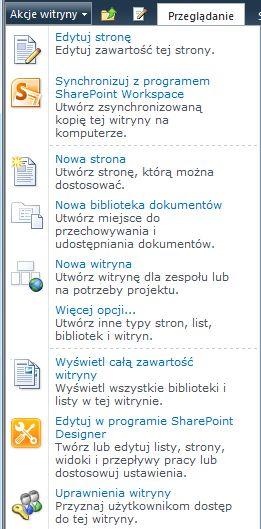 Łącze Uprawnienia witryny