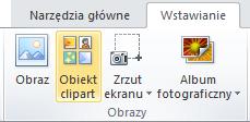 Polecenie ClipArt na karcie Wstawianie na Wstążce w programie PowerPoint 2010