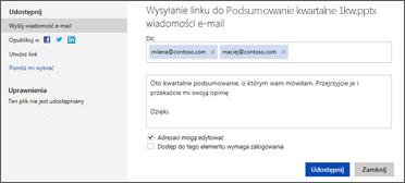 Wysyłanie łącza do prezentacji pocztą e-mail