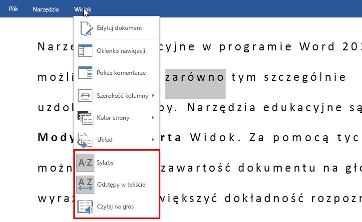 Narzędzia edukacyjne dla programu Word