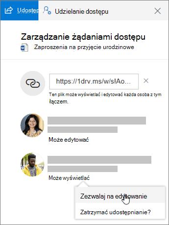 Zrzut ekranu przedstawiający sekcję Udostępnianie okienka Szczegóły dla pliku udostępnionego.
