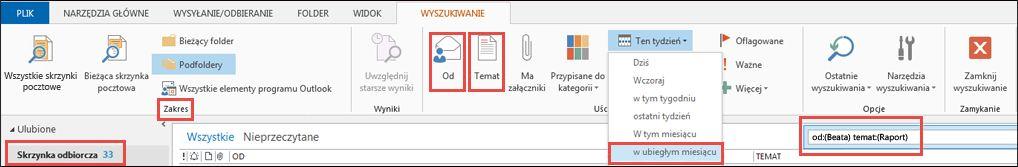 Przykład opcji narzędzi wyszukiwania