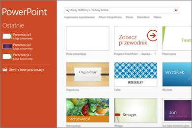 Ekran startowy programu PowerPoint 2013
