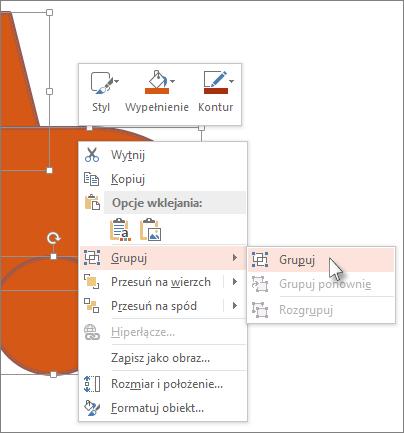 Zaznaczanie i grupowanie obiektów na slajdzie