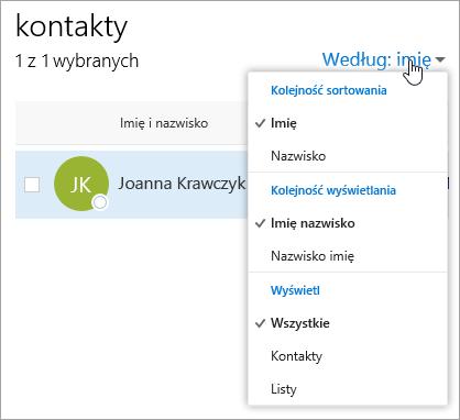 Zrzut ekranu przedstawiający menu rozwijane filtrowania na stronie Kontakty.