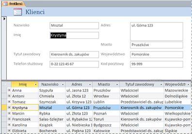 Formularz dzielony w bazie danych programu Access dla komputerów stacjonarnych