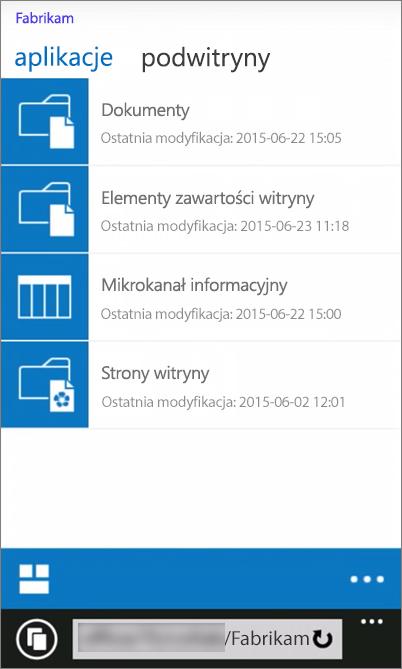 Zrzut ekranu przedstawiający widok witryny programu SharePoint Server 2016 na urządzeniu przenośnym