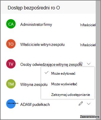 Zrzut ekranu przedstawiający linki bezpośredniego dostępu