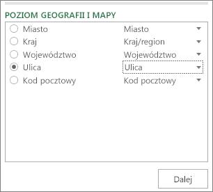 Poziom geografii i mapy w okienku zadań
