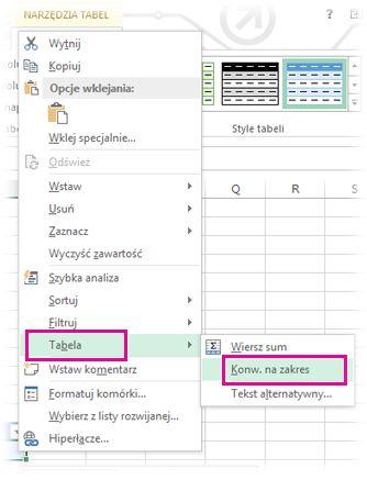 Opcje tabeli w menu po kliknięciu prawym przyciskiem myszy