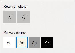 Motywy strony i rozmiar tekstu w widoku do czytania