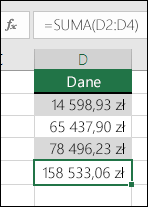 Zamiast używania ustalonych wartości w formułach użyj funkcji SUMA.  Formuła w komórce D5 to =SUMA(D2:D4)