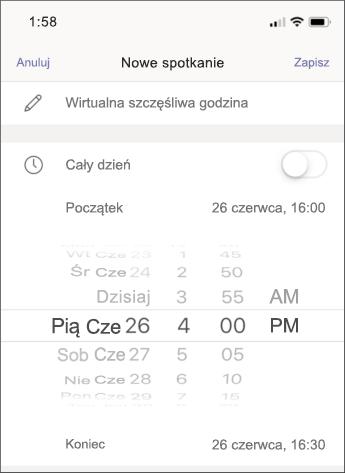Ustawienia spotkania — zrzut ekranu z telefonem komórkowym