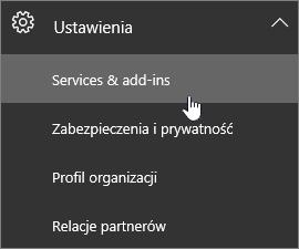 Rozwiń menu Ustawienia, a następnie wybierz pozycję Usługi i dodatki
