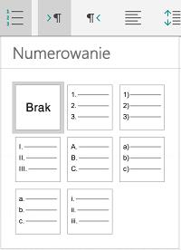 Opcje numerowania