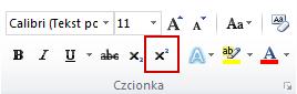 polecenie Indeks górny w grupie Czcionka