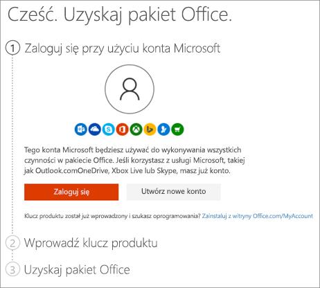 Pokazuje stronę setup.office.com, na której możesz zrealizować klucz produktu