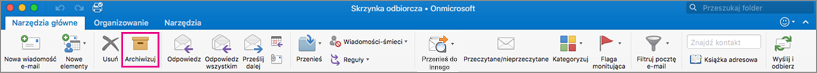 Wstążka programu Outlook z wyróżnionym przyciskiem Archiwizuj