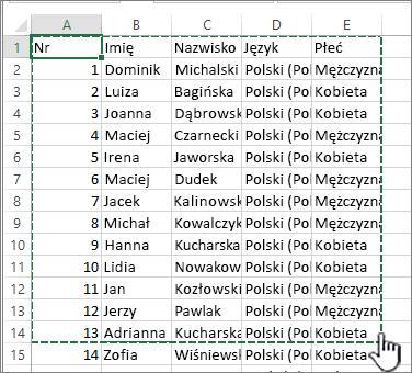 Arkusz kalkulacyjny programu Excel z wyróżnionym zakresem