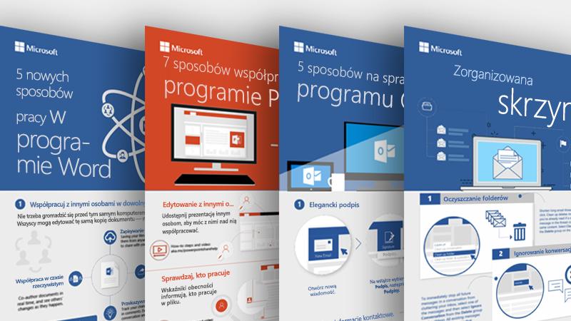 Infografiki dotyczące programów Outlook, Word i PowerPoint