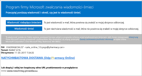 Zrzut ekranu przedstawiający wiadomość e-mail z myśliwce wiadomości-śmieci