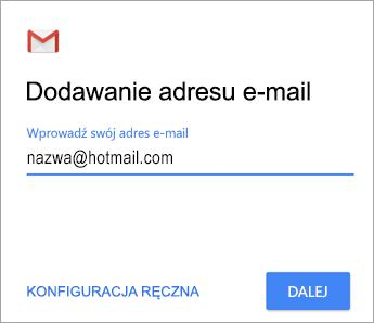 Dodawanie swojego adresu e-mail
