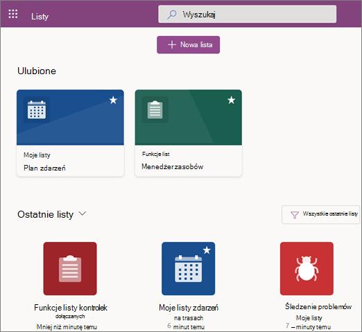 Zrzut ekranu przedstawiający stronę główną listy firmy Microsoft