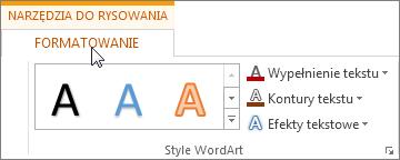 Karty Narzędzia do rysowania i Formatowanie