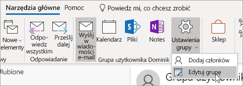 Zrzut ekranu przedstawiający przycisk Ustawienia grupy na pasku nawigacyjnym.