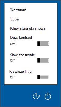 Opcje Ułatwień dostępu na ekranie logowania