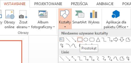 W sekcji Kształty w grupie Ilustracje możesz wybrać kształt, na przykład prostokąt.