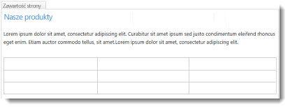 Tabela w witrynie sieci Web usługi SharePoint Online