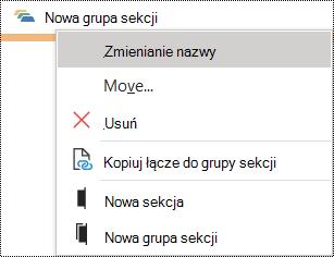 Okno dialogowe Zmienianie nazwy grupy sekcji w programie OneNote dla systemu Windows