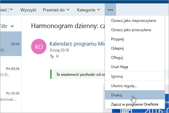 Zrzut ekranu przedstawiający menu Więcej akcji z kursorem na przycisku Drukuj