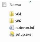 Struktura folderów podczas wyboru platformy na potrzeby instalacji 64-bitowej wersji pakietu Office 2010.