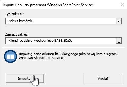 Okno dialogowe Importowanie do arkusza kalkulacyjnego z wyróżnionym przyciskiem Importuj
