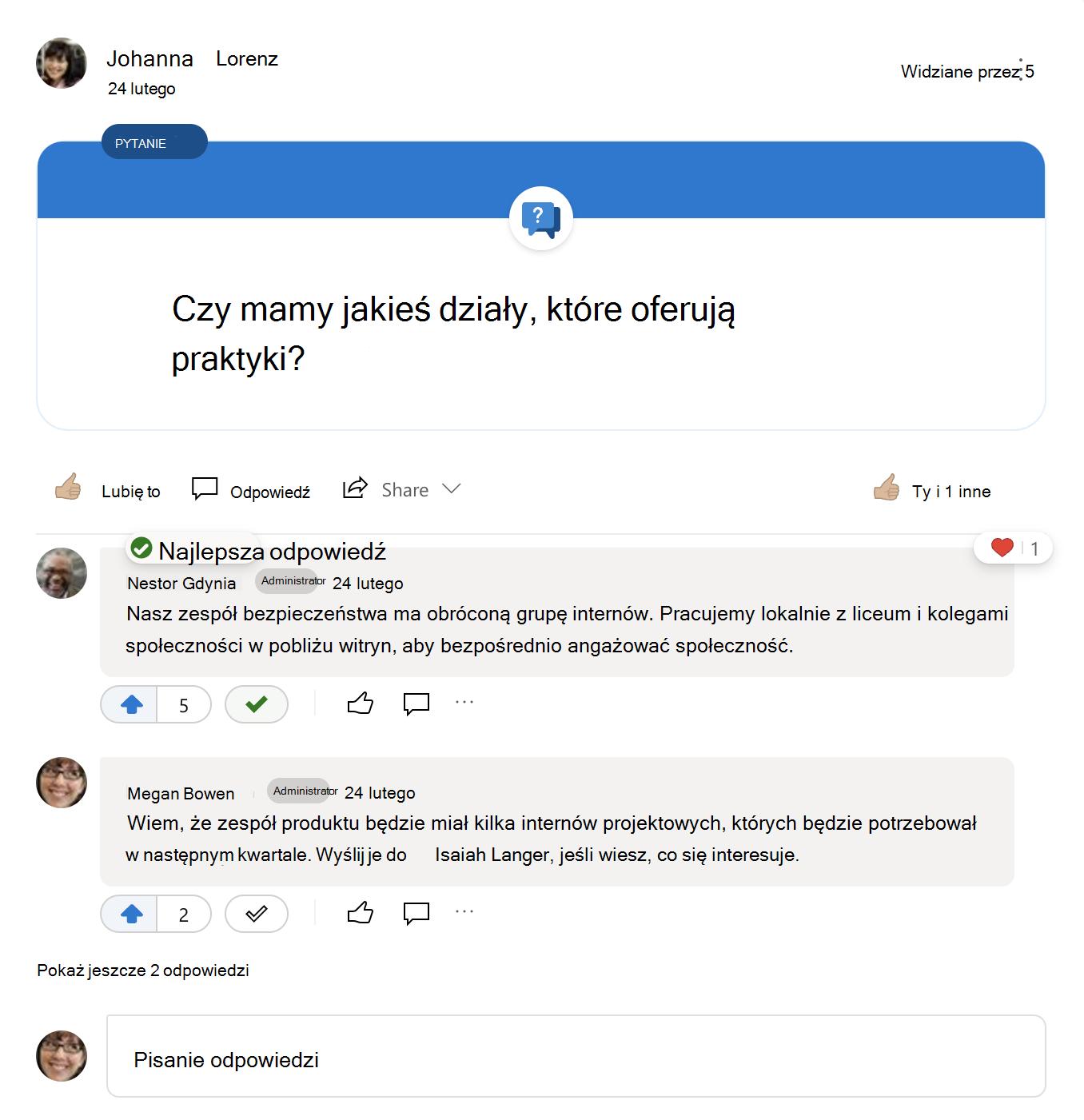 Najlepsza odpowiedź na pytanie usługi Yammer
