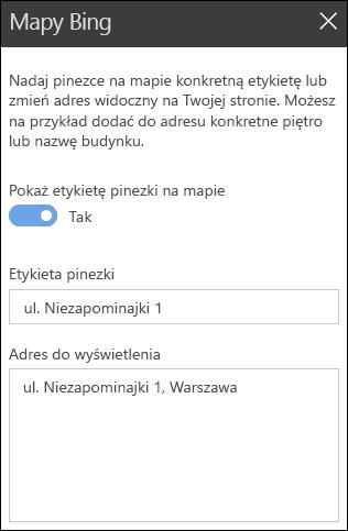 Przybornik strony sieci Web mapy Bing