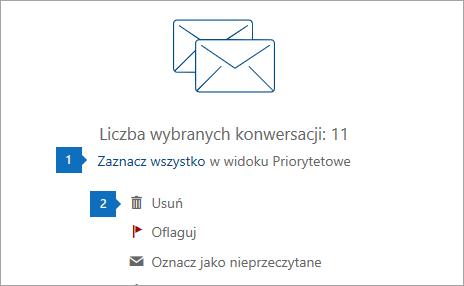 Zrzut ekranu przedstawiający opcję Zaznacz wszystko