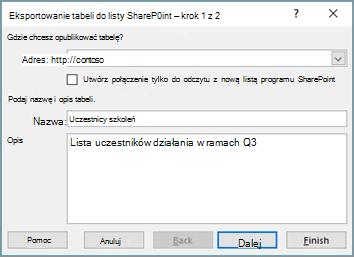 Okno dialogowe kreatora eksportu do programu SharePoint